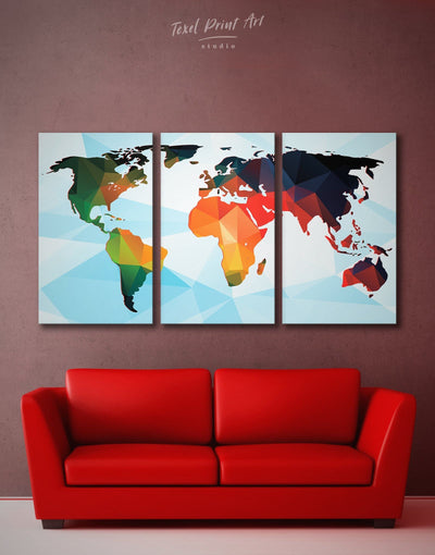 3 Panels Extraordinary Abstract World Map Wall Art Canvas Print - 3 Panels Abstract map blue corkboard geometric world map