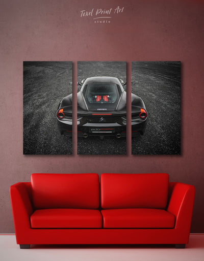 3 Panels Ferrari 488 Wall Art Canvas Print - 3 Panels bachelor pad black car garage wall art