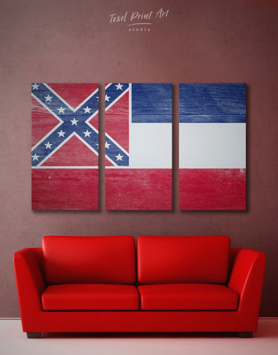 3 Panels Flag of Mississippi Wall Art Canvas Print - Canvas Wall Art 3 Panels blue flag wall art Hallway Living Room