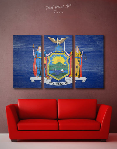 3 Panels Flag of New York State Wall Art Canvas Print - Canvas Wall Art 3 Panels blue flag wall art Hallway Living Room