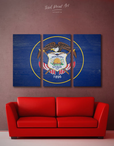 3 Panels Flag Of The State Of Utah Wall Art Canvas Print - 3 Panels blue flag wall art Living Room Office Wall Art