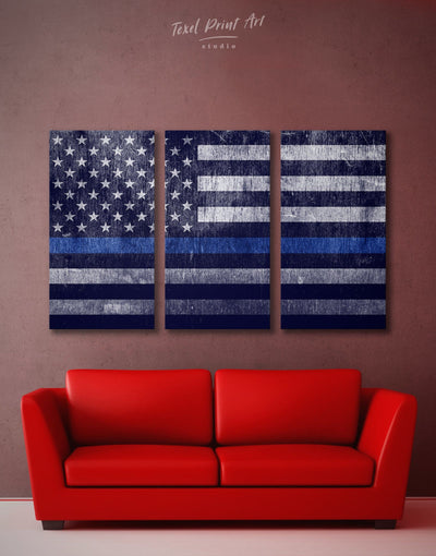 3 Panels Flag Of The USA Wall Art Canvas Print - Canvas Wall Art 3 Panels American flag Blue Blue wall art for living room flag wall art