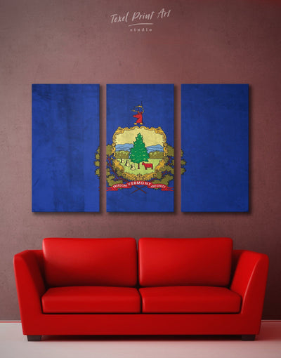 3 Panels Flag of Vermont Wall Art Canvas Print - 3 Panels Blue flag wall art Hallway Living Room