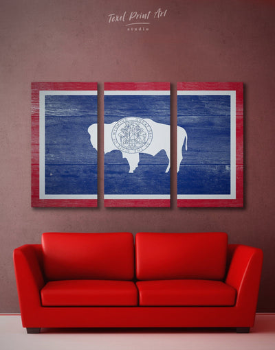 3 Panels Flag Of Wyoming Wall Art Canvas Print - 3 Panels blue flag wall art Living Room Office Wall Art
