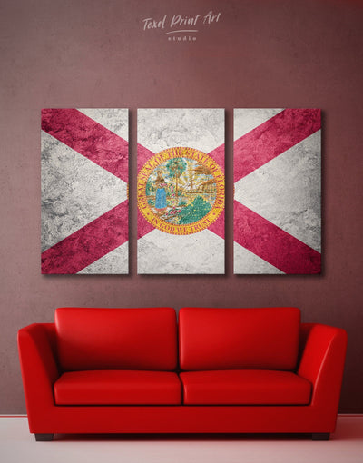 3 Panels Florida State Flag Wall Art Canvas Print - 3 Panels flag wall art Hallway Living Room office