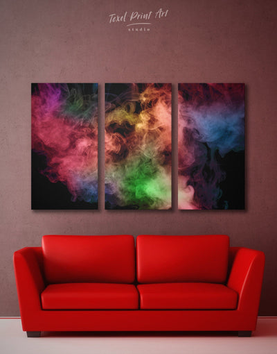 3 Panels Fluorescent Smoke Wall Art Canvas Print - 3 Panels Abstract bedroom Black Contemporary