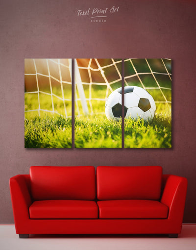 3 Panels Football Game Wall Art Canvas Print - 3 Panels bachelor pad bedroom Football Wall Art Green