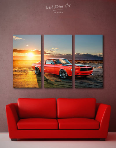 3 Panels Ford Mustang Car Wall Art Canvas Print - 3 Panels Car garage wall art Sunset sunset wall art