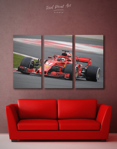 3 Panels Formula 1 Car Wall Art Canvas Print - 3 Panels bachelor pad Car game room game room wall art