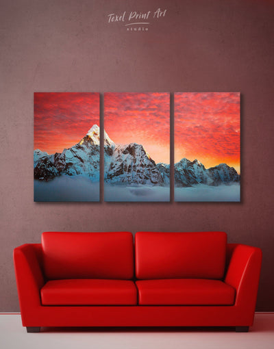 3 Panels Frosty Mountains Wall Art Canvas Print - 3 Panels bedroom landscape wall art Living Room mountain wall art