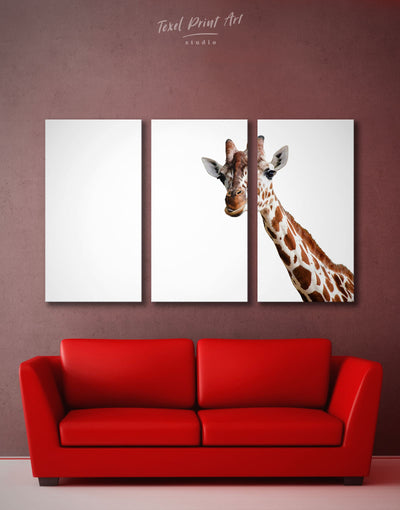 3 Panels Funny Giraffe Wall Art Canvas Print - 3 Panels Animal Animals bedroom Living Room