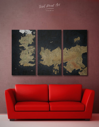 3 Panels Game of Thrones Map Wall Art Canvas Print - 3 Panels bedroom Black Brown Game of Thrones
