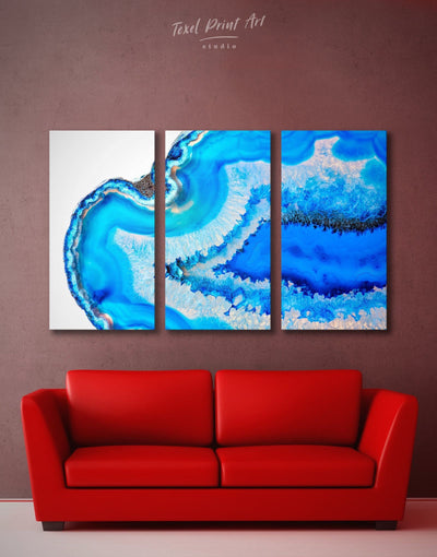 3 Panels Geode Wall Art Canvas Print - 3 Panels Abstract bedroom blue blue and white