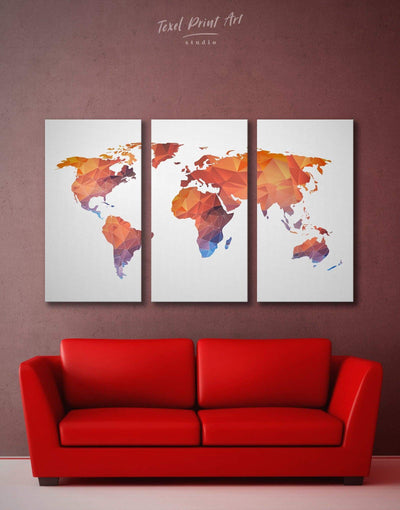 3 Panels Geometric World Map Wall Art Canvas Print - 3 Panels Abstract map corkboard geometric world map Living Room
