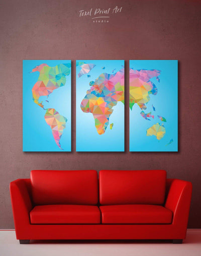 3 Panels Geometric World Map Wall Art Canvas Print - 3 Panels Abstract map bedroom blue wall art for bedroom corkboard