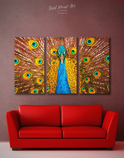 3 Panels Gold Peacock Wall Art Canvas Print - 3 Panels Animal bedroom bird wall art Dining room