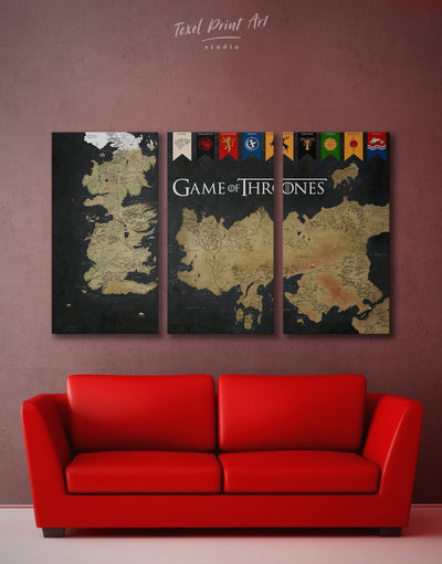3 Panels Gold Westeros Map Wall Art Canvas Print - 3 Panels bedroom black and gold wall art Dining room dining room wall art