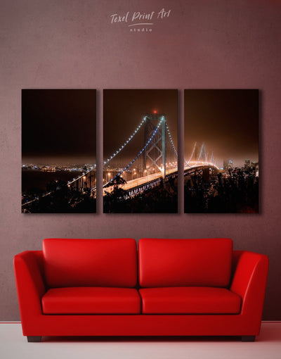 3 Panels Golden Gate Wall Art Canvas Print - 3 Panels bedroom Bridge Golden Gate bridge wall art Living Room