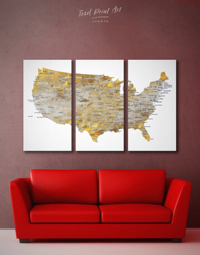 3 Panels Golden US Map Wall Art Canvas Print - 3 Panels bedroom Gilded world map wall art Gold Grey