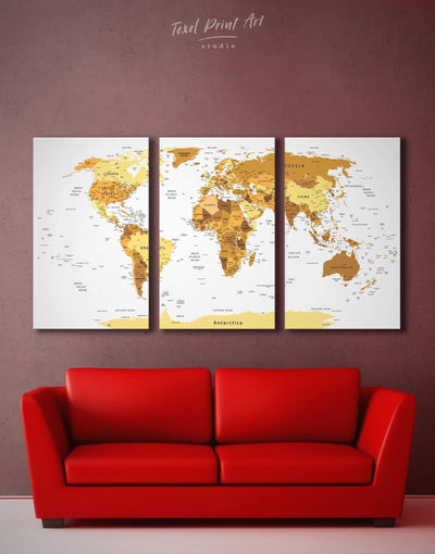3 Panels Golden World Map Wall Art Canvas Print - 3 Panels bedroom contemporary wall art Gold gold world map