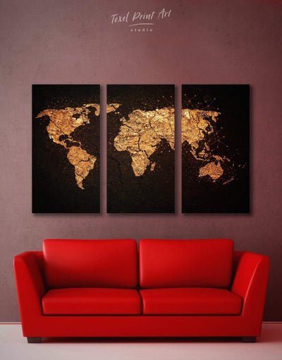 3 Panels Golden World Map Wall Art Canvas Print - 3 Panels Abstract map bedroom black black and gold wall art