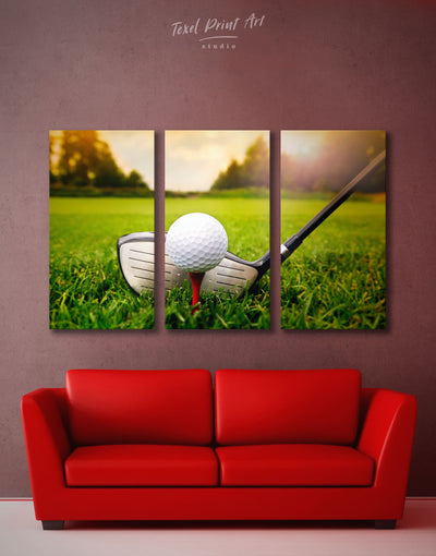 3 Panels Golf Game Wall Art Canvas Print - 3 Panels bachelor pad bedroom Green Hallway