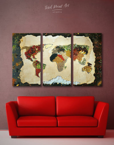 3 Panels Grain Countries Map Wall Art Canvas Print - 3 Panels Abstract Abstract map abstract world map wall art bedroom