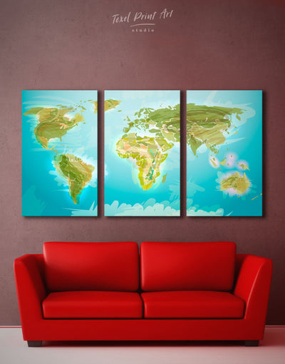 3 Panels Green World Map Wall Art Canvas Print - 3 Panels Abstract map Blue corkboard Green