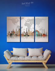 3 Panels Grey Map Wall Art Canvas Print