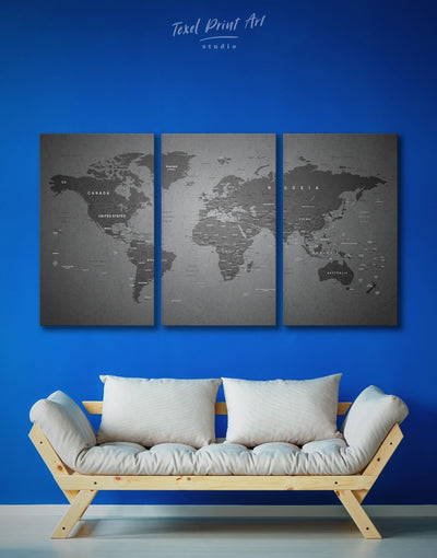 3 Panels Grey Travel Map Wall Art Canvas Print - 3 Panels bedroom Contemporary contemporary wall art Grey