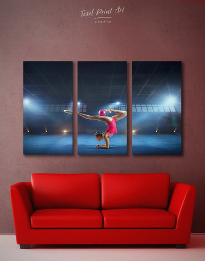 3 Panels Gymnastics Wall Art Canvas Print - Canvas Wall Art 3 Panels bedroom Blue Gymnastics Hallway