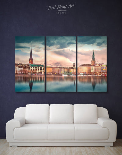 3 Panels Hamburg City Wall Art Canvas Print - 3 Panels bedroom City Skyline Wall Art Cityscape Living Room