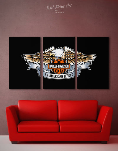 3 Panels Harley Davidson Wall Art Canvas Print - Canvas Wall Art 3 Panels bachelor pad black Hallway Living Room