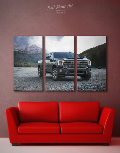 3 Panels Heavy Duty Pickup Truck Wall Art Canvas Print - 3 Panels bachelor pad Car garage wall art Hallway