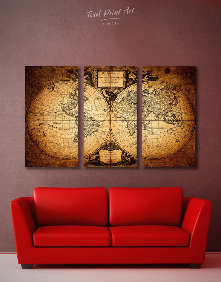3 Panels Historic World Map Wall Art Canvas Print - 3 Panels Antique world map canvas bedroom Brown double hemisphere world map