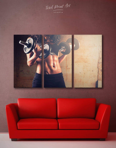 3 Panels Home Gym Wall Art Canvas Print - Brown Home Gym Living Room manly wall art Motivational