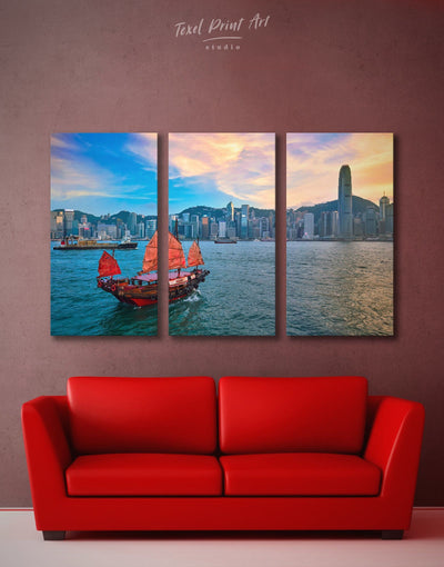 3 Panels Hong Kong Skyline Wall Art Canvas - Canvas Wall Art 3 Panels bedroom City Skyline Wall Art Cityscape Hallway