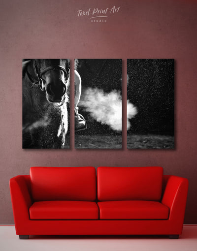 3 Panels Horse Breath Wall Art Canvas Print - 3 Panels Animal Animals bedroom black and white wall art