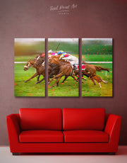 3 Panels Horse Racing Wall Art Canvas Print