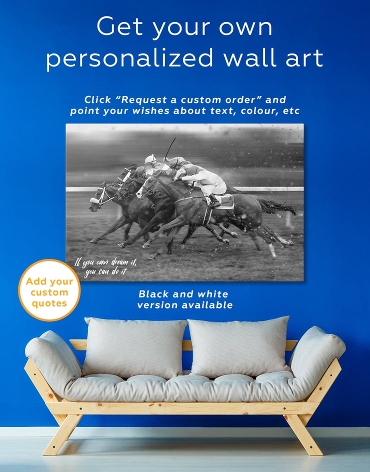 3 Panels Horse Racing Wall Art Canvas Print - Canvas Wall Art 3 Panels bachelor pad Hallway horse wall art inspirational wall art