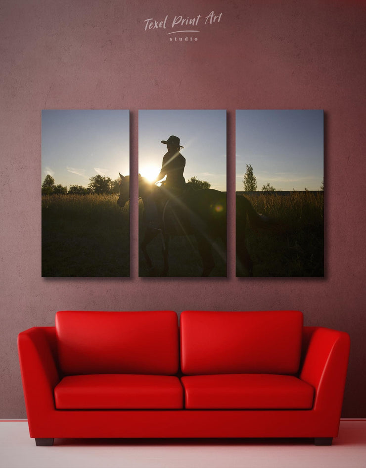 3 Panels Horse Walk Wall Art Canvas Print - Canvas Wall Art 3 Panels Animal Animals bedroom Hallway