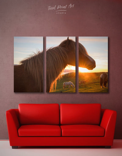 3 Panels Horses Wall Art Canvas Print - Canvas Wall Art 3 Panels Animal Animals Hallway horse wall art
