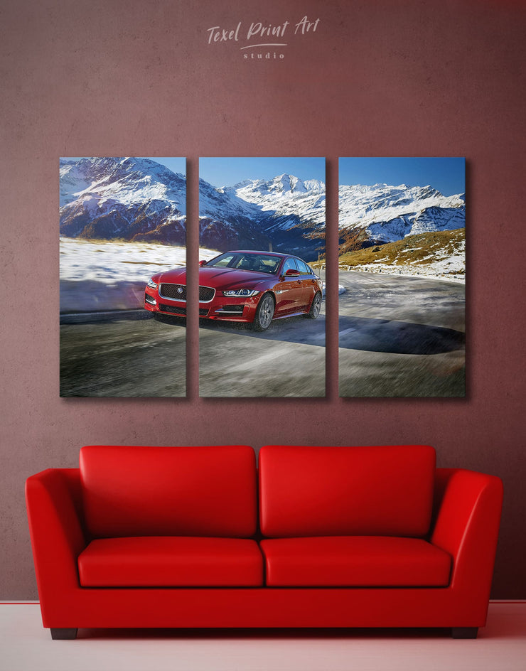 3 Panels Jaguar Wall Art Canvas Print - 3 Panels bachelor pad car garage wall art Hallway
