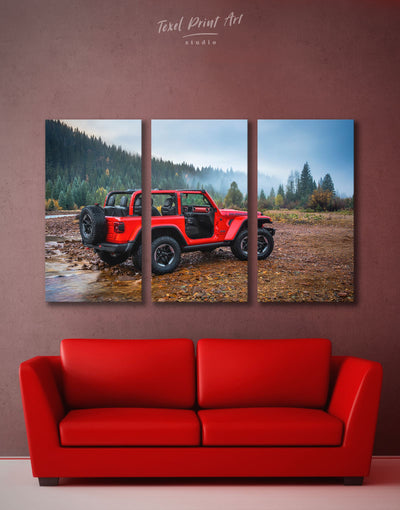 3 Panels Jeep Wrangler Car Wall Art Canvas Print - 3 Panels bachelor pad Car garage wall art wall art for men