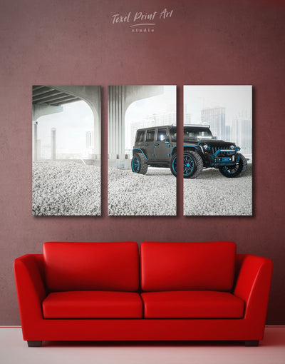 3 Panels Jeep Wrangler Wall Art Canvas Print - 3 Panels bachelor pad Car garage wall art Grey