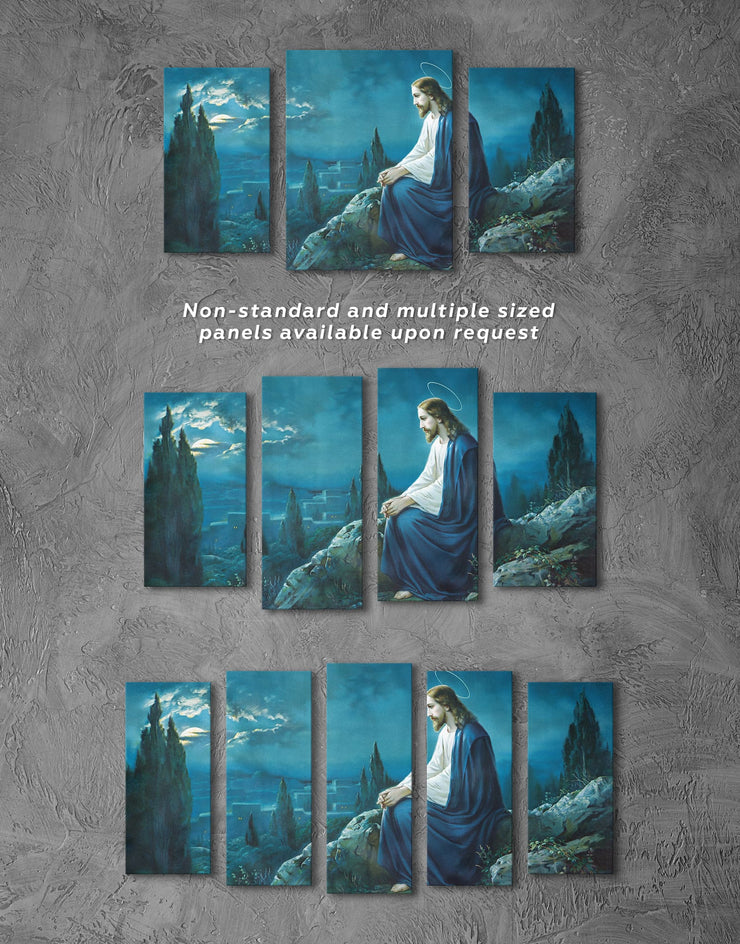 3 Panels Jesus Christ Wall Art Canvas Print - 3 Panels bedroom Blue Christian Hallway
