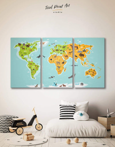 3 Panels Kids Map Wall Art Canvas Print - 3 Panels bedroom blue game room green