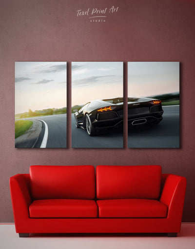 3 Panels Lamborghini 4k Wall Art Canvas Print - 3 Panels bachelor pad Car garage wall art Living Room