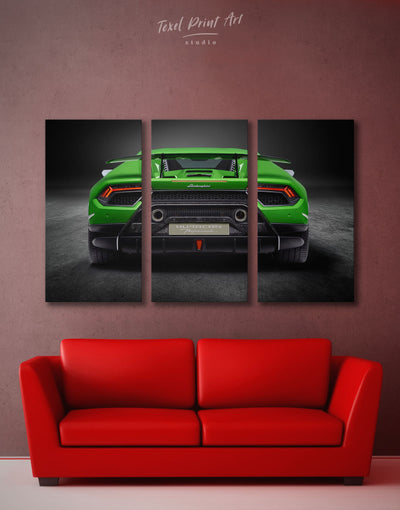 3 Panels Lamborghini Huracan Performante Wall Art Canvas Print - 3 Panels bachelor pad Car garage wall art Green