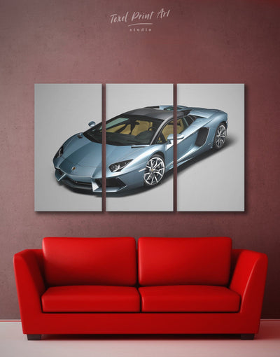 3 Panels Lamborghini Race Car Wall Art Canvas Print - 3 Panels bachelor pad Blue Car Grey